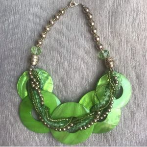 Green shell & bead necklace